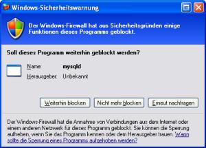 XAMPP Installation FIrewall Meldung